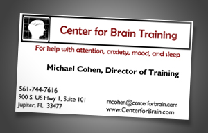 Center For Brain Training Old Business Card